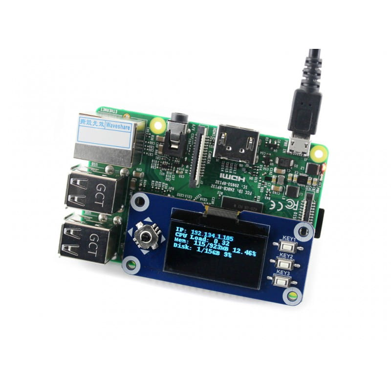 1 3inch OLED display HAT for Raspberry Pi