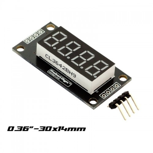 "4 Digit LED 036"" Display decimal 7 segments TM1637 size 30x14mm"